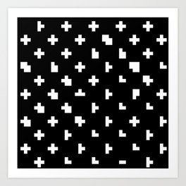 Black cris cross glitch Art Print