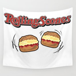 The Rolling Scones: scones and stones! Wall Tapestry
