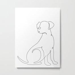Dog One Line Art Metal Print
