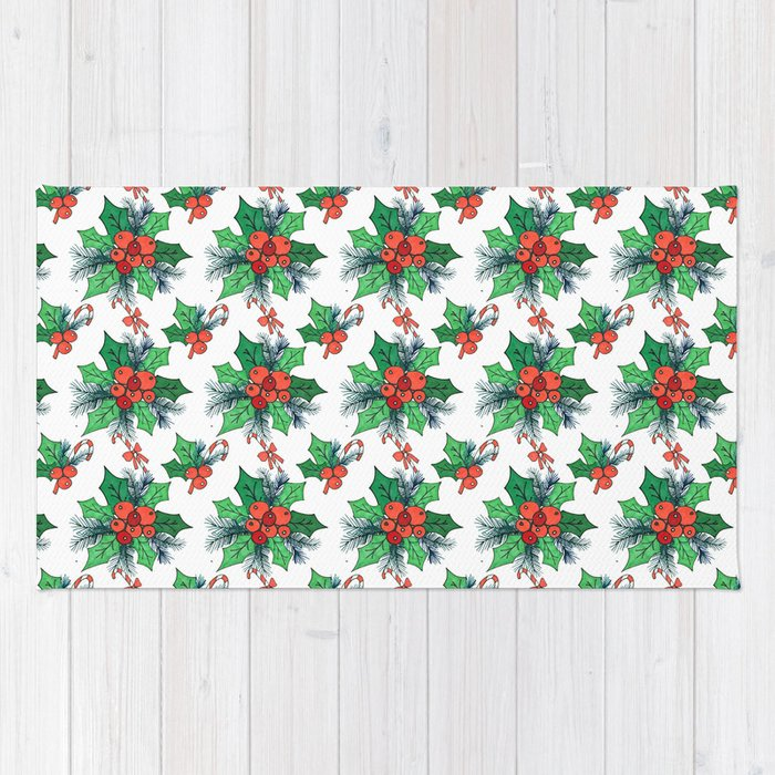 Green red orange Christmas sweet candy holy floral Rug