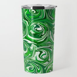Emerald Green, Green Apple, and White Paint Swirls Travel Mug