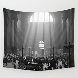 Penn Station, Rays of Light black and white photograph - black and white photography Wall Tapestry