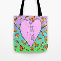 junk food Tote Bags featuring JUNK FOOD by SteffiMetal