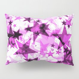 Metallic purple glowing dark golden stars on a light background in the projection. Pillow Sham