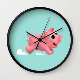 Rosa the Pig running Wall Clock