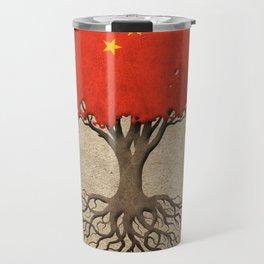 Vintage Tree of Life with Flag of China Travel Mug
