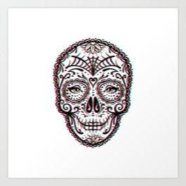 Sugar Skull (Calavera) Chromatic Aberration - Cyan Magenta Yellow Art Print