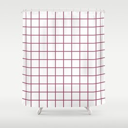 Grid Pattern Burgundy Shower Curtain