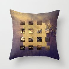 SQUARE AMBIENCE - Magic Tree - mixed-media collage Throw Pillow