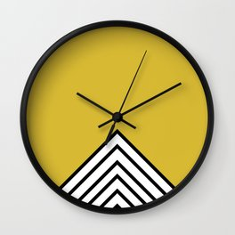 MUSTARD BLACK AND WHITE STRIPES Wall Clock