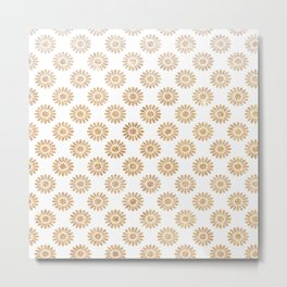 Trendy white faux gold glitter daisies floral pattern Metal Print