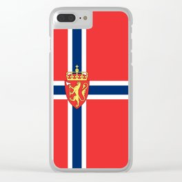 Flag of Norway Scandinavian Cross and Coat of Arms Clear iPhone Case
