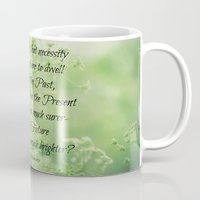 jane eyre Mugs featuring Present and Future Jane Eyre Quote by KimberosePhotography