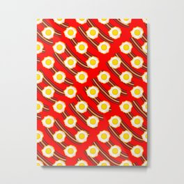 Bacon And Eggs Pattern Red Metal Print