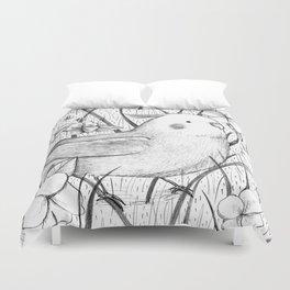 Cockatiel in Grass Duvet Cover