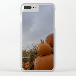 Pumpkins on the stormy sky Clear iPhone Case