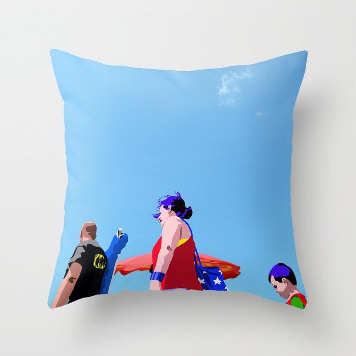 Super...on the beach Throw Pillow