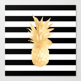 Gold Pineapple Black and White Stripes Canvas Print