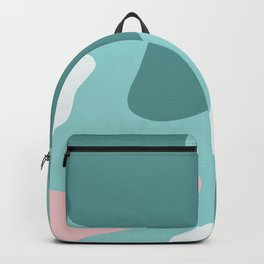 Retro Matte Green with Pink and White Blobs - Funky Abstract Art - Matisse Shapes Backpack