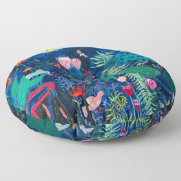 Brightly Rainbow Tropical Jungle Mural with Birds and Tiny Big Cats Floor Pillow