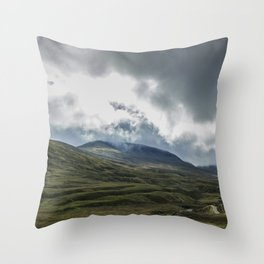 Scottish Mountains with Rain Clouds Throw Pillow