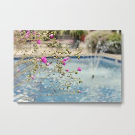 Flowers and Fountain Metal Print