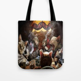 Cats Playing Poker Tote Bag