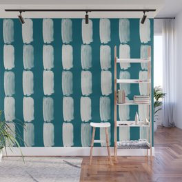 Off White Grid Brushstrokes Vertical Line Pattern on Tropical Dark Teal Inspired by Sherwin Williams 2020 Trending Color Oceanside SW6496 Wall Mural
