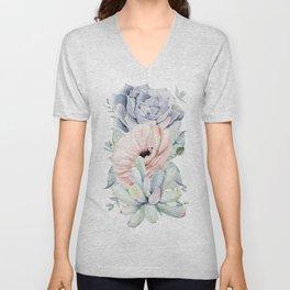 Pastel Succulents by Nature Magick Unisex V-Neck