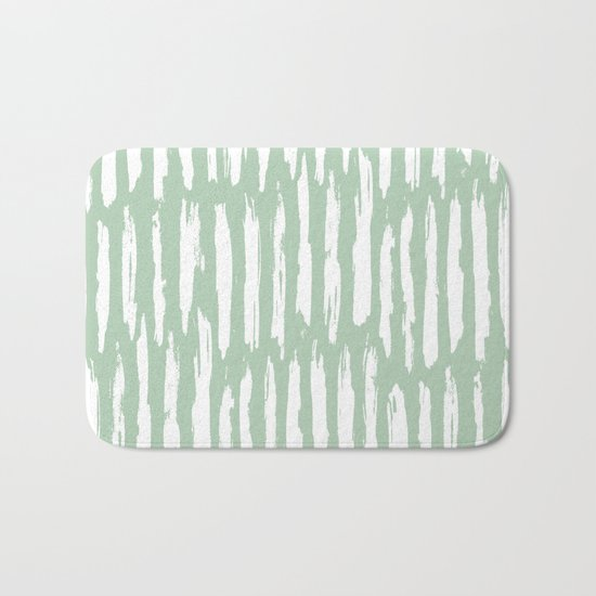 Vertical Dash Stripes White on Pastel Cactus Green Bath Mat