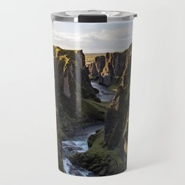 Lush Green Canyon River Bathed In Sunlight Travel Mug