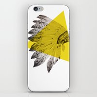 headdress iPhone & iPod Skins featuring headdress by morgan kendall