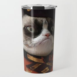 Angry cat. Grumpy General Cat. Travel Mug