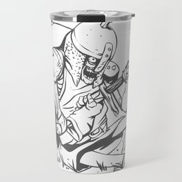 Illustration of a knight  wounded during a medieval battle Travel Mug