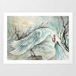 Corbeau Blanc Art Print