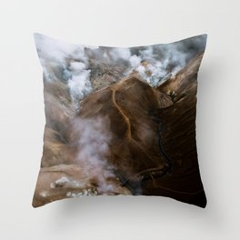 Kerlingarfjöll mountain range in Iceland - Aerial Landscape Photography Throw Pillow