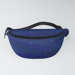 Blue abstract background with shiny stars Fanny Pack