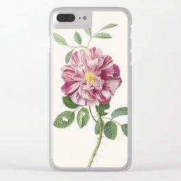 Vintage Botanical Rose Print Clear iPhone Case