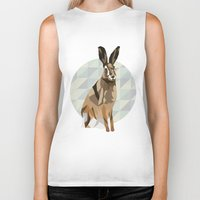 hare Biker Tanks featuring Hare by Giulia Zerbini