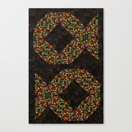 Spiral Chevron Fish on Black Canvas Print
