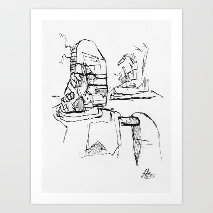 Warbot Sketch #027 Art Print