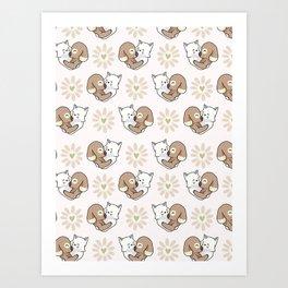 Vector cute cat dog hug hearts Seamless repeat pattern Art Print