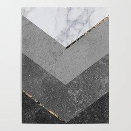 Marble Gray Copper Black Gold Chevron Poster