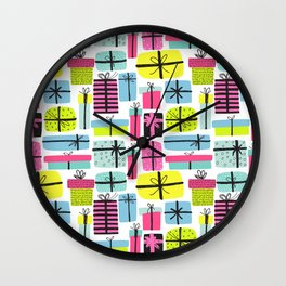 Hot pink yellow teal hand painted christmas presents Wall Clock