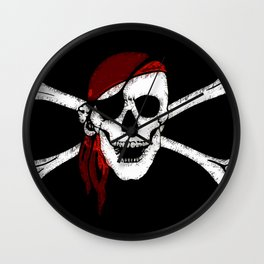 Creepy Pirate Skull and Crossbones Wall Clock