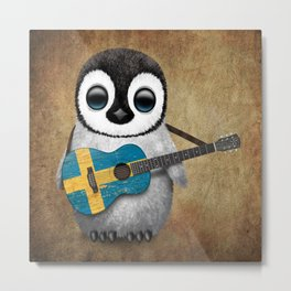 Baby Penguin Playing Swedish Flag Guitar Metal Print