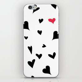 black hearts with one pink one  iPhone Skin