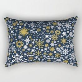A Thousand Snowflakes in Twilight Blue Rectangular Pillow