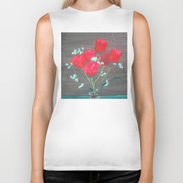 Abstract water color rozes Biker Tank