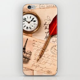 Vintage Old Paper Pen Watch Writing Stamp Postcard iPhone Skin